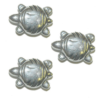 3 Turtle Beads Antique Silver Plated Copper 2.7mm Hole 21x15mm Ba-K-4066