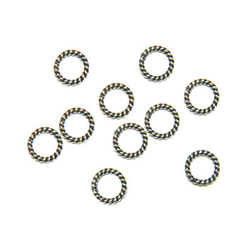 Soldered Closed 8mm Twisted Jump Rings 16 Gage Antique Silver Plated 48 Pcs Ba-K-5060