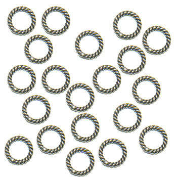 8mm Soldered Fine Twisted Jump Rings 16 Gauge Antique Silver Plated 48 Pcs Ba-K-5129