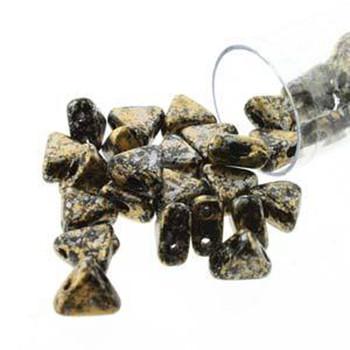 Tweedy Gold 9 Gram Kheops Par Puca 6mm 2 Hole Triangle Czech Glass Beads Khp06-23980-45704-Tb