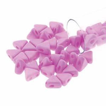 Opaque Lt Rose Silk Matte 9 Gm Kheops Par Puca 6mm 2 Hole Triangle Czech Glass Beads Khp06-02010-29561-Tb