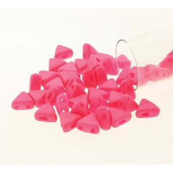 Coral Silk Matte 9 Gm Kheops Par Puca 6mm 2 Hole Triangle Czech Glass Beads Khp06-02010-92606-Tb