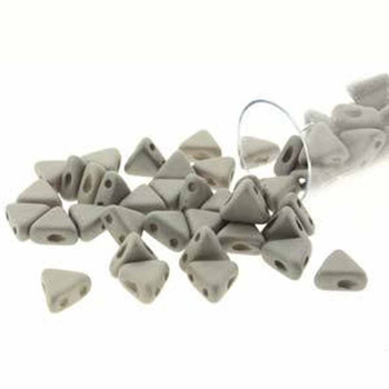 Opaque Grey Silk Matte 9 Gm Kheops Par Puca 6mm 2 Hole Triangle Czech Glass Beads Khp06-02010-29566-Tb