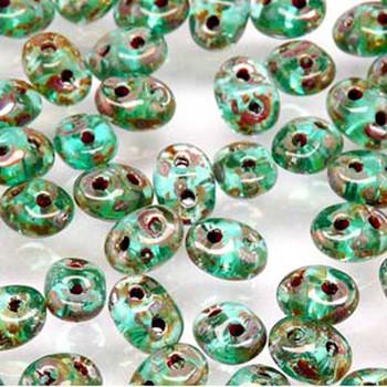Aquamarine Picasso 2x4mm 2 Hole Bead 8 Grams Superduo Miniduo