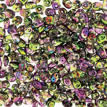 Magic Violet Green 2x4mm 2 Hole Bead 8 Grams Superduo Miniduo