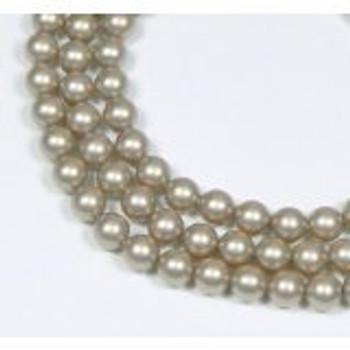 "100 Swarovski Crystal Pearls 6mm Round Beads 5810. 24"" Loose Strand Platinum"