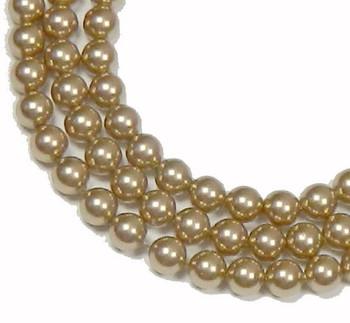 "100 Swarovski Crystal Pearls 4mm Round Beads 5810. 16"" Loose Strand Bronze 581004Brz"