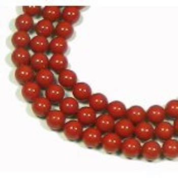 """100 Coral RED Swarovski Crystal Pearls 6mm Round Beads 5810. 24"""" Loose Strand"""