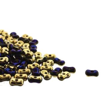 Calif Blue Farfalli 3.2x6.4mm Peanut Czech Glass Beads 19 Grams Hp-Frf3623980-98548-19G