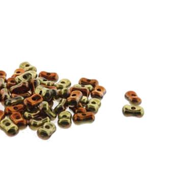 Calif Gold Rush Farfalli 3.2x6.4mm Peanut Czech Glass Beads 19 Grams Hp-Frf3623980-98542-19G