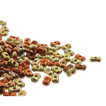Etch California Gld Rsh Farfalli 3.2x6.4mm Peanut Czech Glass Beads 19 Grams Hp-Frf3623980-98542Et-19G