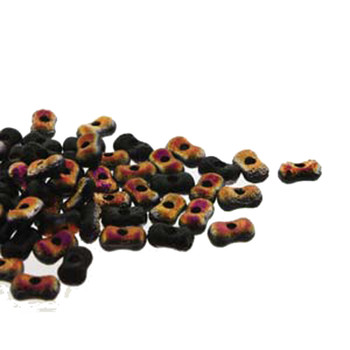 Etch Jet Sliperit Farfalli 3.2x6.4mm Peanut Czech Glass Beads 19 Grams Hp-Frf3623980-29500Et-19G