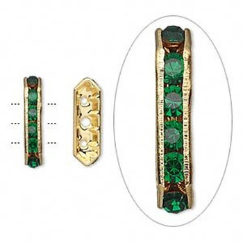 28 Gold-Finished Bead 28 Brass And Rhinestone Green 16x5mm 3-Strand Bridge 3176Mb