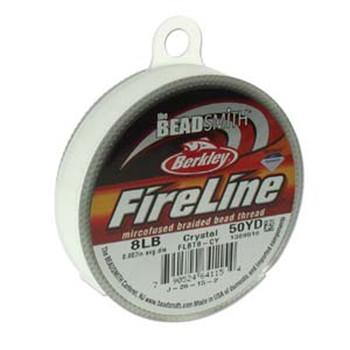 """8Lb Beadsmith Burkley Fireline Braided Bead Thread .007"""" .17mm Crystal Fl08Cr50"""