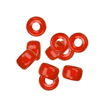 Orange Red Opaque 10Pc Czech Glass Macrame & Leather Crow Beads 9x4mm 3mm Hole H20-4225Md