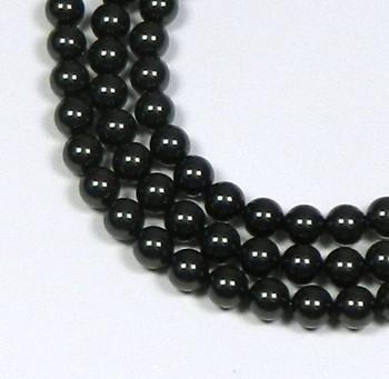 "200 Swarovski Pearls 3mm Round Beads 5810. 24"" Loose Strand Mistic Black 581003Cmb"""