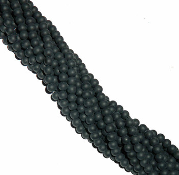 "8mm Frosted Synthetic Black Onyx Round Beads 40 Cm 15"" Gemstone 1B-8B65M"