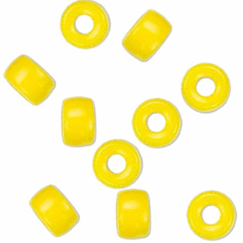 Yellow Opaque 10Pc Czech Glass Macrame & Leather Crow Beads 9x4mm 3mm Hole H20-4226Md