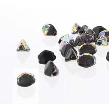 Pinch Czech Glass Beads 7mm Jet 25 Beads Loose Strand Pnc07-23980