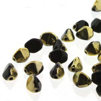 Pinch Czech Glass Beads 7mm Jet Amber 25 Beads Loose Strand Pnc07-23980-26441