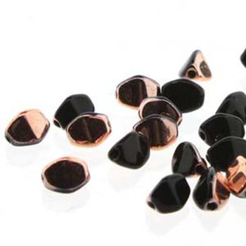 Pinch Czech Glass Beads 7mm Jet Capri Gold 25 Beads Loose Strand Pnc07-23980-27101