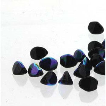 Pinch Czech Glass Beads 7mm Jet Ab 25 Beads Loose Strand Pnc07-23980-28701