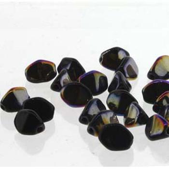 Pinch Czech Glass Beads 7mm Jet Sliperit 25 Beads Loose Strand Pnc07-23980-29500