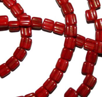 Groovy 6mm Czchmate Glass Czech Two Hole Red Lumi 30 Beads Grv0693190-15495