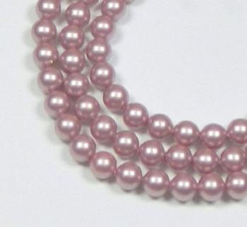 "100 Swarovski Crystal Pearls 4mm Round Beads 5810. 16"" Loose Strand Powder Rose 581004Pr"