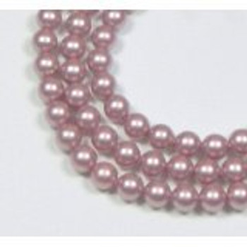 "100 Swarovski Crystal Pearls 4mm Round Beads 5810. 16"" Loose Strand Powder Rose"
