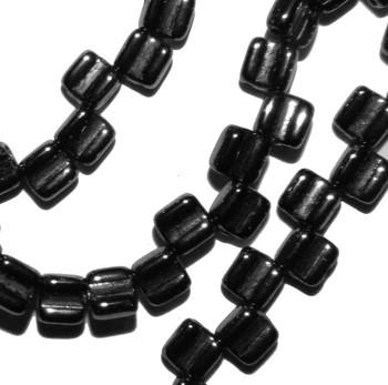 Groovy 6mm Czchmate Glass Czech Two Hole Black Hematite Gold 30 Beads Grv0623980-14400