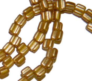 Groovy 6mm Czchmate Glass Czech Two Hole Bronze Pale Gold 30 Beads Grv0600030-01710