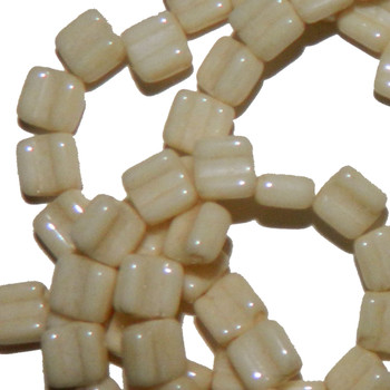 Groovy 6mm Czchmate Glass Czech Two Hole Chalk Beige Lust 30 Beads Grv0603000-14413