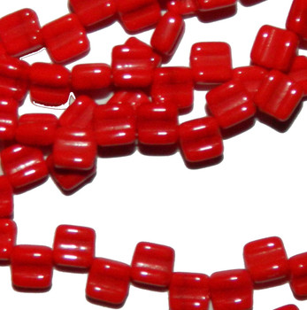 Groovy 6mm Czchmate Glass Czech Two Hole Red Opaque 30 Beads Grv0693190