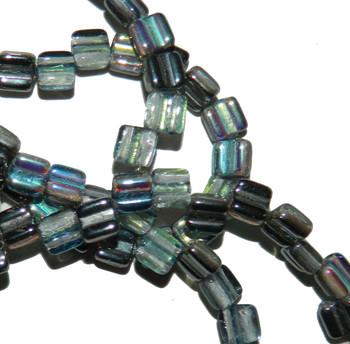 Groovy 6mm Czchmate Glass Czech Two Hole Crystal Graphite Rainbow 30 Beads Grv0600030-98537