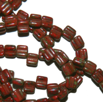 Groovy 6mm Czchmate Glass Czech Two Hole Red Dk Travertine 30 Beads Grv0693190-86805