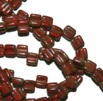 Groovy 6mm Czchmate Glass Czech Two Hole Red Dk Travertine 30 Beads Grv0693190-86805