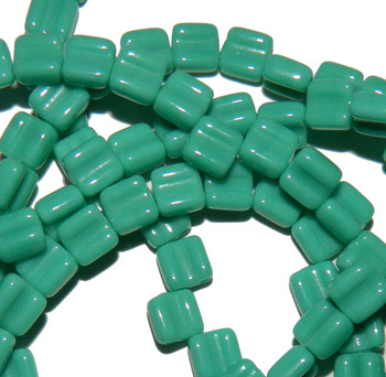 Groovy 6mm Czchmate Glass Czech Two Hole Gr Turquoise Opaque 30 Beads Grv0663130