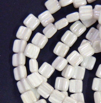Groovy 6mm Czchmate Glass Czech Two Hole Chalk Luster 30 Beads Grv0603000-14400