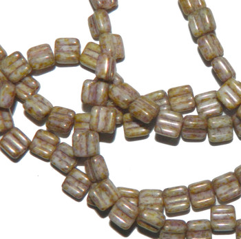 Groovy 6mm Czchmate Glass Czech Two Hole Chalk Senegal Brwn 30 Beads Grv0603000-15695