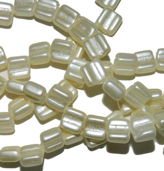 Groovy 6mm Czchmate Glass Czech Two Hole Pastel Light Cream 30 Beads Grv0625110