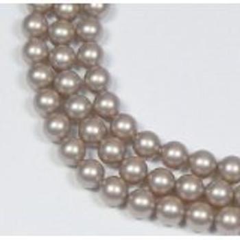 "100 Swarovski Crystal Pearls 4mm Round Beads 5810. 16"" Loose Strand Powder Almond"