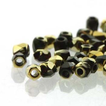 FirePolish True2S 2mm Czech Glass Jet Amber- 600 Beads-Loose Fpr0223980-26441