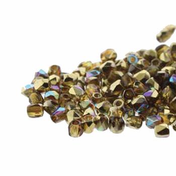 FirePolish True2S 2mm Czech Glass Topaz Gold Rainbow 600 Beads Fpr0210060-98536