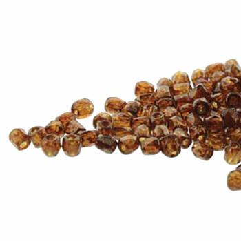 FirePolish True2S 2mm Czech Glass Topaz Brz Picasso 600 Beads Fpr0210060-15695