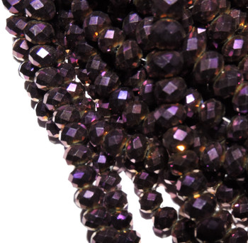Metallic Purple Faceted 8mm Rondelle Beads 70 Piece Luster Glass Crystal Beads B2-Uc3B22