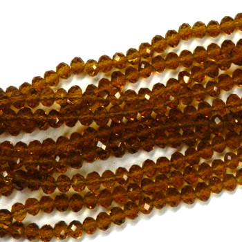Dark Topaz Faceted 6mm Rondelle Beads 90 Piece Luster Glass Crystal Beads B2-Uc2A12