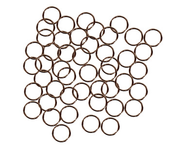 50 Jump Rings Antique Copper Plated Brass 12mm Round 16 Gauge 9.6mm Inside Ac-080527040639-Ac