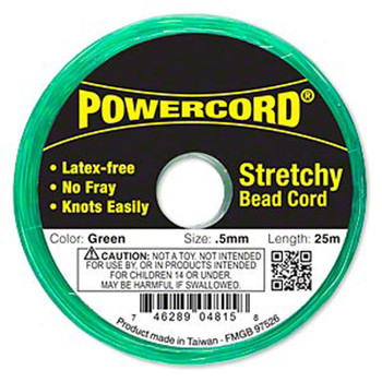 Powercord Elastic Stretch Cord Green 0.5mm 4-Lb Test 25-Meter Latex-Free H20-1690Bs