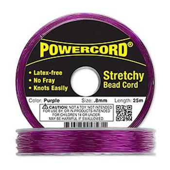 Powercord Elastic Stretch Cord Purple 0.8mm 8.5-Lb Test 25-Meter Latex-Free H20-1702Bs